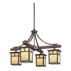 KICHLER - KICHLER 49091CV Alameda Arts and Crafts/Mission Outdoor Chandelier - The Alameda Collection brings its simple, down-to-earth design to your outer decor adding an unassuming dynamic to your home's profile. Each fixture utilizes a classic lantern shape. Our Canyon View finish and Honey opalescent glass panels, add instant beauty and ambiance, making the Alameda Collection a family of outdoor fixtures that garners attention wherever you install it.For additional chain order KCH-2996-CV and for additional stem order KCH-2999-CV (12 inch).