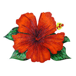"Glass Tile Oasis - Hibiscus Pool Accents Red Pool Glossy & Iridescent Glass - Sheet size:  27"" x 35""     Tile thickness:  1/8""     Sheet Mount:  Mesh Backed      Sold by the sheet      -  Discover the enduring beauty and unique realism of hand-cut glass  All materials are impervious to the affects of weather and normal pool chemicals. Shade and size variations are inherent characteristics in all handcrafted tile products. These variations are a trademark of handcrafted quality and add to the unique beauty of your individual mosaic."