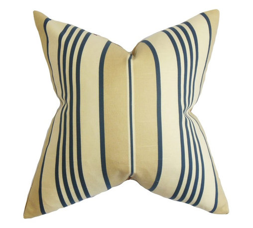 """The Pillow Collection - Vigee Stripes Pillow Blue 18"""" x 18"""" - Make your home an elegant retreat with this sleek indoor pillow. Decorated with a dynamic stripe pattern in alternating neutral and blue hues. This square pillow lends a playful vibe to your living room, bedroom or lounge area. 100% cotton-made, this 18"""" pillow adds coziness and comfort in an instant. Hidden zipper closure for easy cover removal.  Knife edge finish on all four sides.  Reversible pillow with the same fabric on the back side.  Spot cleaning suggested."""