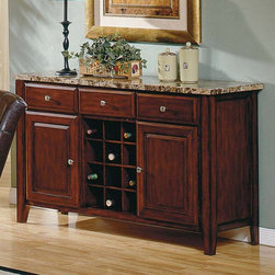 Steve Silver Co. - Steve Silver Montibello Wine Rack and Server - MG500SV - Shop for Buffets and Side Boards from Hayneedle.com! Ever noticed how dining rooms lack built-in or closet storage? We have just the solution. Our Steve Silver Montibello Server with Wine Rack has a beautiful contemporary style with the blending of cool stone and warm wood. It's the perfect addition to any transitional or contemporary dining room and it gives you the extra storage and serving space you need. Constructed of solid hardwood and veneers it has a lush cherry finish and your option choice of variegated brownmarble top or black granite. It features three drawers that give you lots of storage for extra silverware serving utensils and napkins. Two cabinets offer more spacious storage for extra plates and other items. And the center section has a 12-bottle removable wine rack so you can store all your favorite wines. The long top is ideal for serving buffet-style meals and for holding serving dishes to keep the table clear. It will definitely become an indispensible part of your dining room. Assembly required. Dimensions: 56L x 18W x 34H inches. Wine rack dimensions: 15W x 15D x 19.75H inches. Individual bottle compartments measure: 4.75 x 4.75 inches. About Steve SilverSince its founding in Forney Texas in 1987 the Steve Silver Company has had a simple focus: to provide the best quality product at an irresistible price back it up with uncompromising service and continue to improve every day. As one of the premier suppliers of dining sets and occasional furniture in the country Steve Silver is proud to make you the customer its top priority utilizing state-of-the-art equipment proven operating procedures and over 500 000 square feet of facilities. You'll feel equally proud displaying furniture from the Steve Silver Company in your home.