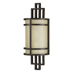 Murray Feiss - Murray Feiss Fusion Transitional Wall Sconce X-ZBG3821BW - Clean lines and geometric styling gives an updated look and feel to this Murray Feiss wall sconce. From the Fusion Collection, the amber ribbed glass shade adds subtle texture and interest. Meanwhile, the Grecian Bronze finish highlights the clean lines and mission styled details.