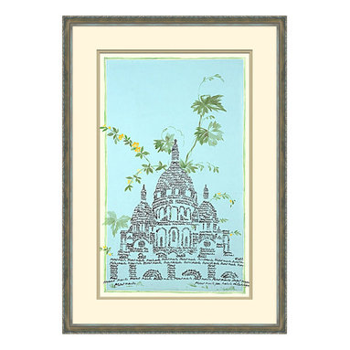 Parisian Monuments -C Framed Giclee - The majestic meets the whimsical in Parisian Monuments. The Basilica of Sacre-Coeur in the historic neighborhood of Monmartre in Paris is splendidly rendered in an ebony old-world script that floats atop a sky of robin's egg blue. Delicately drawn blooms and fronds suggest a summer solstice of endless golden light. An unadorned frame allows attention to remain on the enchanting image at the center of the artwork.