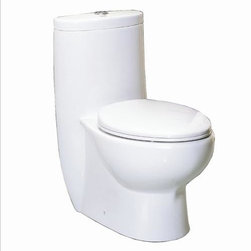 Whitehaus - Whitehaus Whmfl3309-Eb Dual Flush Toilet White - One piece dual flush eco-friendly toilet, Flush Capacity 1.6 / 0.8
