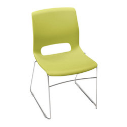 Hon - Motivate Stacking Chair, Sled Base, Set of 4 - Refresh your space with a cool splash of lime. Molded from zesty green polypropylene, each chair in the set of two features a contoured back and seat strong enough to hold up to 300 pounds. You can stack them up to 12 high to save space — or let them stand alone as bright pops of functional color.