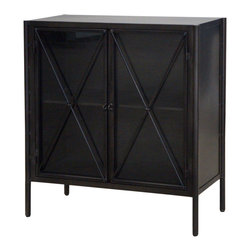 Marco Polo Imports - Partha Small Cabinet-Waxed Black - Industrial small cabinet forged from iron with two shelves with a waxed black finish.