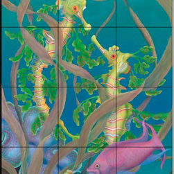 The Tile Mural Store (USA) - Tile Mural - The Fairy And The Dragon - Kitchen Backsplash Ideas - This beautiful artwork by Marcia Perry has been digitally reproduced for tiles and depicts two Seahorses with a brightly colored fish close by.  This tile mural featuring fish and sea life would be perfect as a part of your kitchen backsplash tile project or your tub and shower surround bathroom tile project. Images of tropical fish on tile make a fantastic kitchen backsplash idea and are great to use in the bathroom too for your shower tile project. Consider a tile mural of sealife and fish for any room in your home where you want to add wall tile with interest.