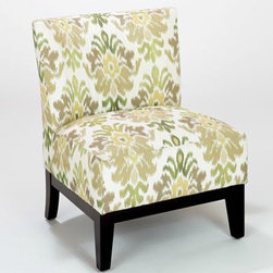 Green Ikat Darby Chair - This is a beautiful use of an ikat pattern. I like how pretty and soft it is. This can land in my family room any time!
