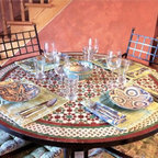 Moroccan Zellij Glazed Mosaic Tile 52 Inch Round Table & Wrought Iron Base - Genevieve Hannon