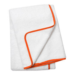 """Jonathan Adler - Jonathan Adler Orange Piped Bath Towel - Jonathan Adler's stylish bath towel energizes bathrooms with the designer's """"happy chic"""" aesthetic. When edged with piping in a striking shade of orange, this everyday white shower essential becomes a contemporary accessory. 30""""W x 56""""H; 100% Pima cotton; 650 gsm"""