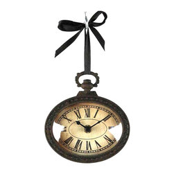 Kathy Kuo Home - Pocket Watch Style Vintage French Rustic Ribbon Wall Clock- S - Evoke a sense of the old world with this incredibly eye-catching pocket watch style wall clock.  Made of antiqued iron with a rusty finish, this clock flaunts ornate iron detailing on the back, making it a great hanging clock on the wall or off. The face of this clock features Roman numerals, an aged look and appropriately-styled clock hands, adding to the overall design.  Accompanied by a black ribbon for hanging, this battery-operated clock will keep today's time in the rustic or French-inspired interior.
