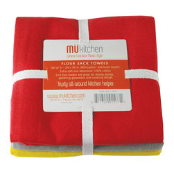MU Kitchen Flour Sack Towel Cool - MU Kitchen Flour Sack Towels - Super utility plus a new color explosion!  This set of 3 flour sack towels is not only great for covering dough  these lint free towels are also perfect for drying dishes and polishing glassware.  100% absorbent cotton.  Set of 3  imported from India.Product Features                      Extra soft 100% absorbent cotton          Lint free - great for drying  polishing  and covering dough          Imported from India          Set of 3