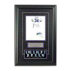 """Heritage Sports Art - Original art of the NFL 1982 Seattle Seahawks uniform - This beautifully framed piece features an original piece of watercolor artwork glass-framed in an attractive two inch wide black resin frame with a double mat. The outer dimensions of the framed piece are approximately 17"""" wide x 24.5"""" high, although the exact size will vary according to the size of the original piece of art. At the core of the framed piece is the actual piece of original artwork as painted by the artist on textured 100% rag, water-marked watercolor paper. In many cases the original artwork has handwritten notes in pencil from the artist. Simply put, this is beautiful, one-of-a-kind artwork. The outer mat is a rich textured black acid-free mat with a decorative inset white v-groove, while the inner mat is a complimentary colored acid-free mat reflecting one of the team's primary colors. The image of this framed piece shows the mat color that we use (Medium Blue). Beneath the artwork is a silver plate with black text describing the original artwork. The text for this piece will read: This original, one-of-a-kind watercolor painting of the 1982 Seattle Seahawks uniform is the original artwork that was used in the creation of this Seattle Seahawks uniform evolution print and tens of thousands of other Seattle Seahawks products that have been sold across North America. This original piece of art was painted by artist Bill Band for Maple Leaf Productions Ltd. Beneath the silver plate is a 3"""" x 9"""" reproduction of a well known, best-selling print that celebrates the history of the team. The print beautifully illustrates the chronological evolution of the team's uniform and shows you how the original art was used in the creation of this print. If you look closely, you will see that the print features the actual artwork being offered for sale. The piece is framed with an extremely high quality framing glass. We have used this glass style for many years with excellent results. We pa"""