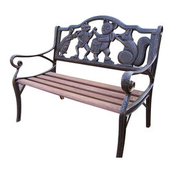 Oakland Living - Oakland Living Mini Band Garden Bench-Antique Bronze - Oakland Living - Outdoor Benches - 6010AB - About this product: