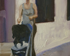 Mother With Pram, Blue, Gray, Original, Painting - Steel grays of urban architecture match the slim figure and her child.