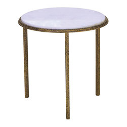 Hammered Gold Round Table - A simple three-legged design brings together smooth white with old gold and pared-down shape with rich craftsman texture. The Hammered Gold Round Table has slim legs and a flat, simple top that make this low accent table visually light, perfect for enhancing function in a formal space, but the rich metallic finish is heavily antiqued to open up fresh possibilities of texture in your home decor.