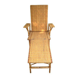 1920s-1930s Vintage Wicker And Bamboo Chair - Dimensions 22.0ʺW × 22.0ʺD × 39.0ʺH