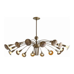 Arteriors - Valdez Chandelier, Brass - Shower your favorite setting with light. This unusual modern fixture in your choice of antique brass finish or polished nickel finishes features slender adjustable arms that let you direct the illumination.
