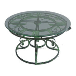 Uttermost - Uttermost Gilbertine Clock Table in Antiqued Light Green - Antiqued, light green, garden style curled iron coffee table with quartz movement clock under clear tempered glass top.