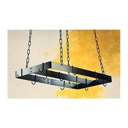 Rogar - Pot Rack w Centerbar in Black w Brass Hooks ( - Color: Black/BrassMade of Steel. Black finish. Brass accessories. Includes 8 regular hooks. 30 in. L x 15 in. W x 2 in. H (9 lbs.)
