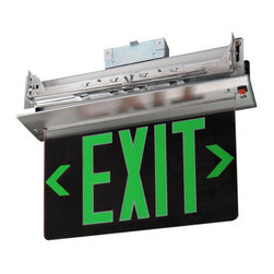 Elco - Elco EDGREC2 Energy Star Double Face Recessed Transparent Edge Lit LED Exit Sign - Elco EDGREC2 Energy Star Double Face Recessed Transparent Edge Lit LED Exit SignElco Lighting�s high quality, affordable Exit and Emergency fixtures provide a variety of different styles and benefits designed to meet the requirements of any application. Dual voltage options (120 and 277 VAC), brown-out activation (unit automatically switches to emergency mode if supply voltage drops below 80%), automatic low-voltage disconnect, thermal protection, short circuit protection and reverse polarity protection are just a few of the important standardized features of these products.Features: