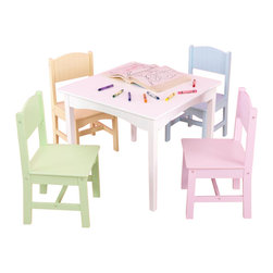 KidKraft - Nantucket Table & 4 Pastel Chairs by Kidkraft - Our Nantucket Table and 4 Chair Set is great for board games, tea parties, and arts and crafts.