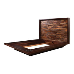 Devon King Platform Bed - Peroba Collection a boutique allure of high-style sustainable furniture that is hand-crafted from exotic demolition hardwoods as well as black walnut.