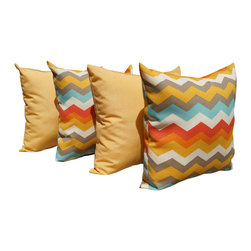 Land of Pillows - Panama Wave Sunset Chevron and Solar Buttercup Outdoor Throw Pillow - 4 Pack, 20 - Fabric Designer - Waverly
