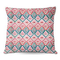 DiaNoche Designs - Pillow Linen - Pom Graphic Designs Ethnicity - DiaNoche Designs works with artists from around the world to create astouding and unique home decor products.  Add a little texture and style to your decor with our Woven Linen throw pillows.  The material has a smooth boxy weave.  Each pillow is machine loomed, then printed and sewn ALL IN THE USA!!!  100% smooth poly with cushy supportive pillow insert with a hidden zip closure. Dye Sublimation printing adheres the ink to the material for long life and durability. Double Sided Print, machine wash upon arrival for maximum softness. Product may vary slightly from image.