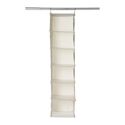 Home Decorators Collection - 6-Shelf Sweater Organizer - With two strong hooks to hang from any closet rod or wire shelving, this organizer offers six spacious compartments to help keep your closet space neat and tidy. Whether for sweaters, seasonal clothing or even your day-to-day necessities, you will love having the extra storage space this piece provides. Complete your closet organization today; order now. Crafted of a durable cotton blend for years of lasting use. Shelves supported with plastic for added strength.