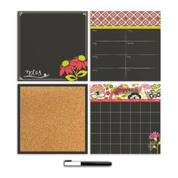 "Brewster Home Fashions - Eden Organizer Kit Decal - Taking a mod floral theme to fabulous heights the Eden organization kit is the ultimate way to stay on schedule with style. The set includes a dry-erase weekly planner message board and monthly calendar as well as a cork board with 6 push pins and a white dry-erase marker. Each of the organizer kit pieces are 13"" x 13""."