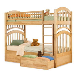 Atlantic Furniture - Windsor Twin Over Twin Bunk Bed in Natural Ma - Comes with a slat kit for mattress support. Includes two 14 pieces engineered hardwood slat kits. Optional underbed flat panel drawers not included. Made of premium, eco-friendly hardwood with a 5-step finishing process. Solid hardwood Mortise & Tenon construction. 26-Steel reinforcement points. Boasts long arches and 3 in. corner posts. Designed for durability. Guard rails match panel design. Meet or exceed all ASTM bunk bed standards, which require the upper bunk to support 400 lbs.. Clearance from floor without trundle or storage drawers: 11.25 in.. 79.75 in. L x 42.75 in. W x 71 in. H. Optional flat panel drawers: 74 in. L x 22 in. W x 12 in. H. Optional raised panel drawers: 74 in. L x 24.38 in. W x 12 in. H. Optional raised panel trundle: 74.75 in. L x 40.38 in. W x 11.63 in. H. Bunk Bed Warning. Please read before purchase