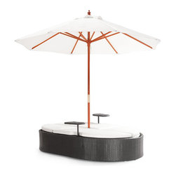ZUO - Hampton Double Chaise Lounge - Vacations will be redundant if you lounge under the Hampton Bed's wide linen umbrella on a regular basis. Works as a cushioned bench or dual lounge chairs. Two attached tables are perfect for sunscreen, magazines, and frosty mojitos.