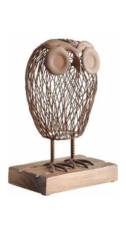 Rustic Wire and Wood Wise Owl Sculpture - *Wisely Owl Sculpture