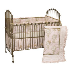 Cotton Tale Designs - Lollipops and Roses 4pc Crib Bedding Set - Lollipops & Roses 4pc crib bedding by Cotton Tale Designs is a graceful collection of pinks, cream, and tan.