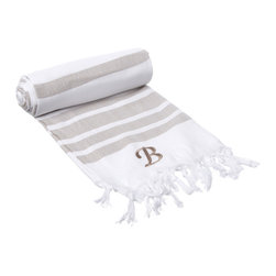None - Authentic Fouta Tan Bold Stripe Turkish Cotton Bath and Beach Towel with Monogra - Personalize your bathroom arrangement with this stylish Turkish cotton towel. The white and tan stripes give it a look that fits nearly any bathroom, and the absorbent material gets softer with each wash, making it even more pleasing to use over time.