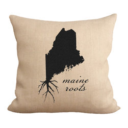 """Fiber and Water - Maine Roots Pillow - No Pillow Insert. Cover Only - A great silhouette of the state of Maine, enhanced with roots for those Maine natives who are never too far away. This hand-printed piece of art has beautiful texture from a combination of natural burlap and water-based paints. Dimensions: 19""""x19"""". Front: 100% Sultana Burlap w/ Hand-Pressed Print in Black. Back: 100% Natural Duck Cloth Canvas. French Seams & Surged Edges. Aluminum Hidden Zipper. Spot-Clean Only. As always, Made in Maine."""
