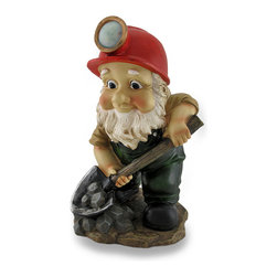 Zeckos - Adorable Digging Miner Gnome Whimsical Garden Sculpture - This garden gnome may be a digger, but you won't have to worry about him digging up your garden, flowerbed or lawn He's got his hands full with rocks of his own This adorable cast resin statue adds a bit of whimsy to your garden, patio or entryway with his lightly weathered hand-painted finish, and measures 10 inches (25 cm ) high, 6 inches (15 cm) wide and 5.5 inches (14 cm) deep, and makes a charming gift any gnome enthusiast is sure to love