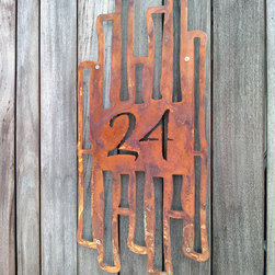 Address Plaques - Asian Garden, Rustic Bamboo Address Sign in Rusted Steel