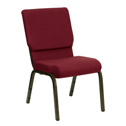 Flash Furniture - HERCULES Series 18.5'' Wide Burgundy Stacking Church Chair with 4.25'' Thick Sea - This HERCULES Series Church Chair will add elegance and class to any Church, Hotel, Banquet Room or Conference setting. If you are looking for a chair with comfort and style that is easy to move and stores away with ease, then look no further. This built to last chair has a 16-gauge steel frame that has been tested to hold 800 lbs. This church chair features double support bracing, ganging clamps, a cushion that graduates to a 4.25'' thick waterfall edge and plastic floor glides to protect non-carpeted floors. Our church chair is manufactured by one of the most reputable stack chair manufacturers in the industry, you can be assured of the quality of this chair offered to you.