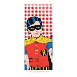"""Kess InHouse - Roberlan """"The Boy Wonder Pop"""" Robin Metal Luxe Panel (9"""" x 21"""") - Our luxe KESS InHouse art panels are the perfect addition to your super fab living room, dining room, bedroom or bathroom. Heck, we have customers that have them in their sunrooms. These items are the art equivalent to flat screens. They offer a bright splash of color in a sleek and elegant way. They are available in square and rectangle sizes. Comes with a shadow mount for an even sleeker finish. By infusing the dyes of the artwork directly onto specially coated metal panels, the artwork is extremely durable and will showcase the exceptional detail. Use them together to make large art installations or showcase them individually. Our KESS InHouse Art Panels will jump off your walls. We can't wait to see what our interior design savvy clients will come up with next."""