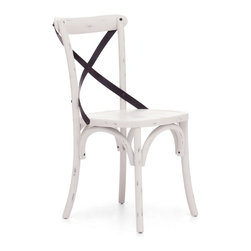 ZUO ERA - Union Square Chair Antique White (set of 2) - Turn your kitchen into a quaint European bistro.  These darling cafe chairs are crafted from solid wood and antique metal. Available in three different finishes, the pair features a curvaceous x-back design that is stylish and comfy. There's no better place to sip your espresso.