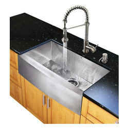 Vigo Industries - Single Kitchen Sink and Faucet Set - Includes soap dispenser, matching bottom grid, sink strainer, all mounting hardware for faucet and hot-cold waterlines