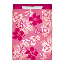 """Eco Friendly Made In USA """"Aloha Pink"""" Hibiscus Twin Comforter - Dream of Hawaiian Days and Nights With This Premium """"Aloha Pink"""" Twin Size Comforter From Our Hawaiian Beach Bedding Bedroom and Bath Collection."""