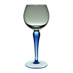 Lavish Shoestring - Consigned 6 Wine Blue Stem Glasses, Vintage German - This is a vintage one-of-a-kind item.