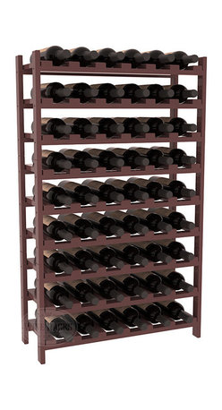 Wine Racks America - 54 Bottle Stackable Wine Rack in Ponderosa Pine, Walnut + Satin Finish - Three times the capacity at a fraction of the price for the 18 Bottle Stackable. Wooden dowels enable easy expansion for the most novice of DIY hobbyists. Stack them as high as you like or use them on a counter. Just because we bundle them doesn't mean you have to as well!