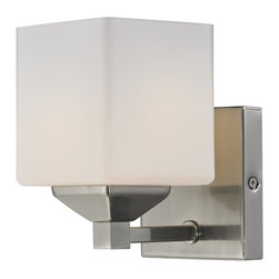 Z-Lite - Z-Lite Quube Bathroom Light X-V1-4012 - Rectangular shaped hardware and a complimenting cube shade create a straight contemporary look. This wall sconce is finished in brushed nickel, and includes a matte opal shade. This fixture will add a touch of contemporary to any d&#233:cor.