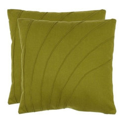 Safavieh Cruz 18 in. Decorative Pillows - Green - Set of 2 - Pin tucked curves invigorate the solid Safavieh Cruz 18 in. Decorative Pillows - Green - Set of 2. Rendered in a soft wool/poly blend, piping provides a finishing touch for a tailored look. Hidden zippers make it easy to remove the pillow covers.About SafaviehConsidered the authority on fine quality, craftsmanship, and style since their inception in 1914, Safavieh is most successful in the home furnishings industry thanks to their talent for combining high tech with high touch. For four generations, the family behind the Safavieh brand has dedicated its talents and resources to providing uncompromising quality. They hold the durability, beauty, and artistry of their handmade rugs, well-crafted furniture, and decorative accents in the highest regard. That's why they focus their efforts on developing the highest quality products to suit the broadest range of budgets. Their mission is perpetuate the interior furnishings craft and lead with innovation while preserving centuries-old traditions in categories from antique reproductions to fashion-forward contemporary trends.