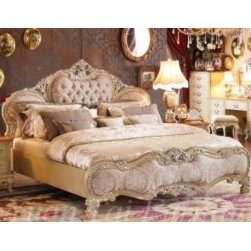 Luxury European Bedroom - Yuan Tai KA4900Q Kalonice Queen Bed in Beige Finish