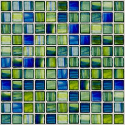 "Susan Jablon Mosaics - Green And Blue Swirl Handmade Glass Tile - This glass tile blend is comprised of 1"" hand made glass mosaic tile in green and blue tones offer the perfect crisp and clean counter part to your white counter top. Stunning.This blue and green 1 inch glass tile is an unique combination of transparent clear glass tiles tinted with bright green and deep blue colors. Absolutely stunning anywhere you wish to inspire beauty. With it's rustic edges it gives a wonderfully natural, organic feel anywhere.It is very easy to install as it comes by the square foot on mesh and it is very easy to clean! About a decade ago, Susan Jablon re-ignited her life-long passion for mosaics and has built a customer-focused, artist-driven, business offering you the very best in glass and decorative tiles and mosaics. We are a glass tile store committed to excellence both personally and professionally. With lines of 100% SCS Qualified recycled tile, 12 colors and 6 shapes of mirror, semi precious turquoise stones from Arizona mines, to color changing dichroic glass. Stainless steel tiles in 8mm and 4mm and 12 designs within each, and anything you can dream of. Please note that the images shown are actual photographs of the tiles however, colors may vary due to the calibration of each individual monitor. Ordering samples of the tiles to verify color is strongly recommended."