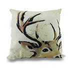 Zeckos - Beige, Tan and Black Deer Head Indoor/Outdoor Canvas Throw Pillow 18 in. - Perfect for homes with a outdoorsy theme, this 100% polyester Climaweave weather resistant canvas decorative throw pillow will add a lodge style accent anywhere inside your home or out featuring a tan and black printed image of a deer head with a big rack on a beige background. The pillow measures 18 inches by 18 inches (46 x 46 cm), and would look amazing tossed on the couch, in your favorite chair on the patio or highlighting your garden bench. It is recommended to spot clean only. It's a great housewarming gift idea perfect for any hunting enthusiast or deer lover sure to add a crisp splash of color!